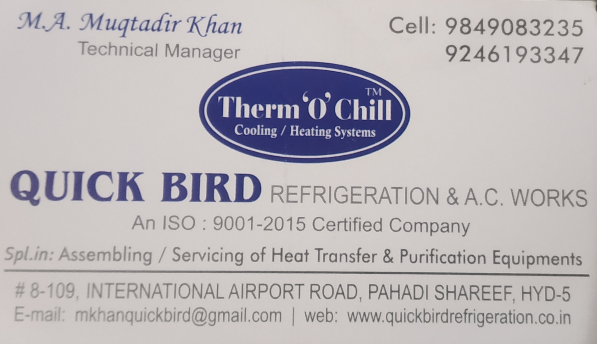 QUICK BIRD REFRIGERATION & A.C WORKS