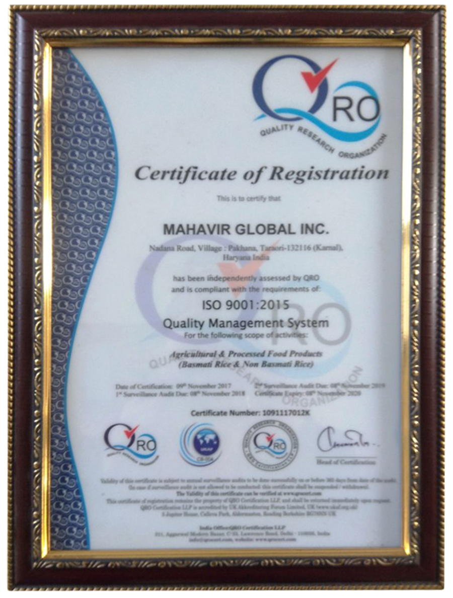 Pusa Rice in Karnal,Haryana,India - MAHAVIR GLOBAL INC
