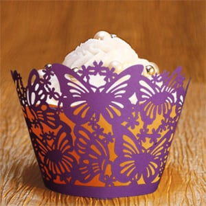 Romantic Red Leaves Butterfly Laser Cut Paper Cupcake Wrapper