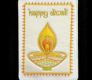 Diwali Card Designer Embroidery