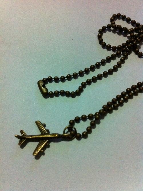 Bronze Airplane Pendant Drop Cord Chain Necklace