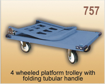 4 Wheeled Platform Trolley With Folding Tubular Handle