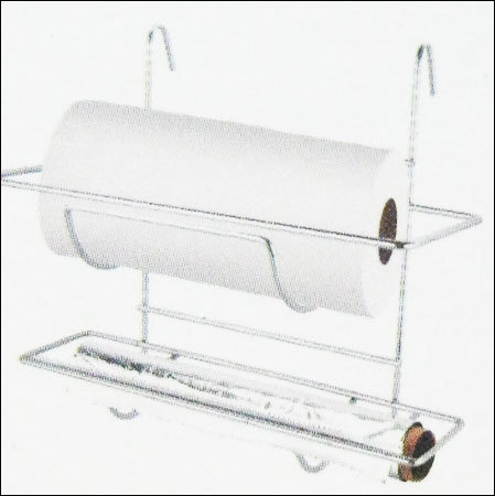 Hanging 2 Tier Kitchen Roll Aluminium Foil Holder With Cutter