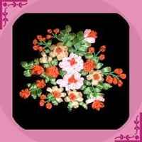 Flower Bunch Ribbon Embroidery