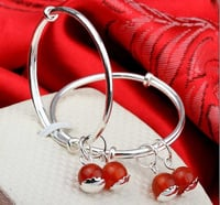 Children And Baby Bangle Bracelet With Red Crystal Charms