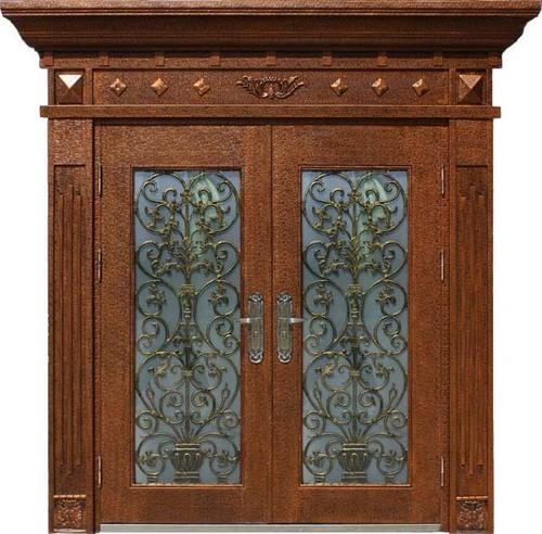 Tempered Glass Exterior Steel Entry Door