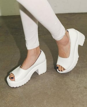 High Heels Waterproof Fish Mouth Leather Single Shoes CZ-0543 White