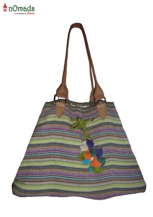 Jute Cotton Bag With Leather Handle