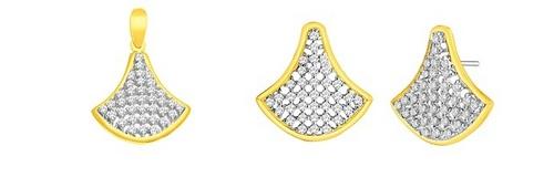Pendant-Earring Set (1.00 Ct Real Diamonds)