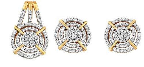 Pendant-Earring Set (1.06 Ct Real Diamonds)
