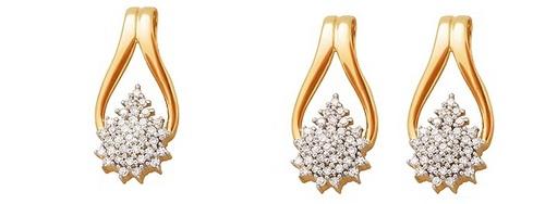 Pendant-Earring Set 0.45Ct Real Diamonds