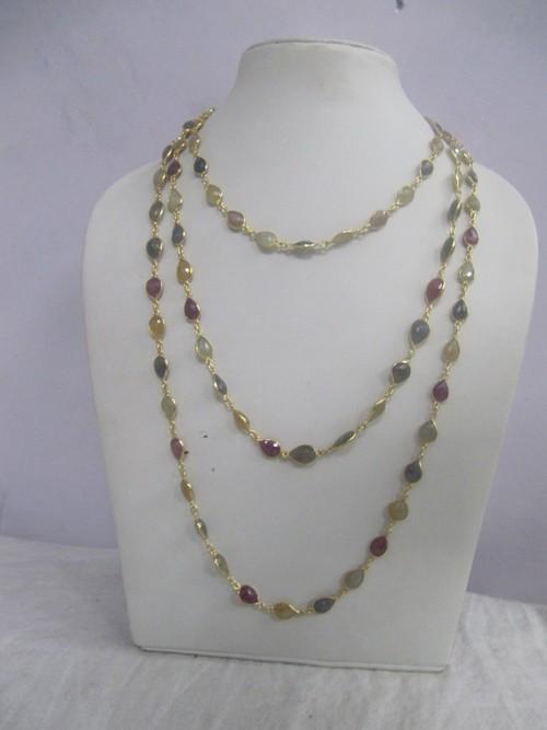 Multi Sapphire Beaded Necklace