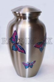 Pewter Urn With Engraved Butterflies