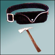 Leather Belt With Pouch And Fire Man Axe