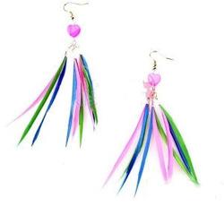 Kids Pink Feather Flock Earring