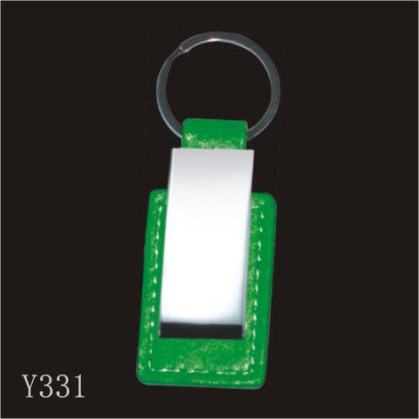 Green Leather Key Chain