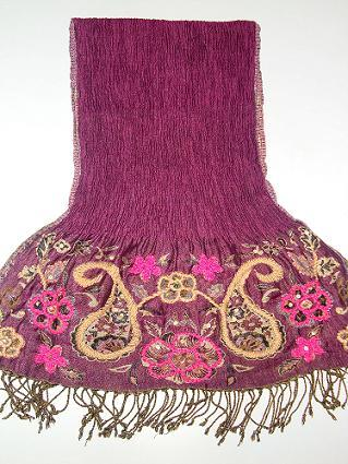 Embroidered Viscose Lycra Scarf