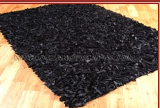 Black Leather Shaggy Rugs