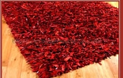 Red Leather Shaggy Carpet