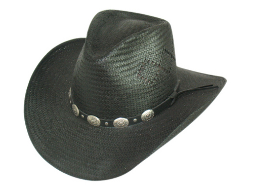 8 BU Straw Cowboy W/Leather Band Hat