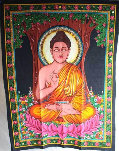 Silk Painting Of Buddha Wall Hanging