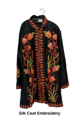 Embroidered Silk Coat