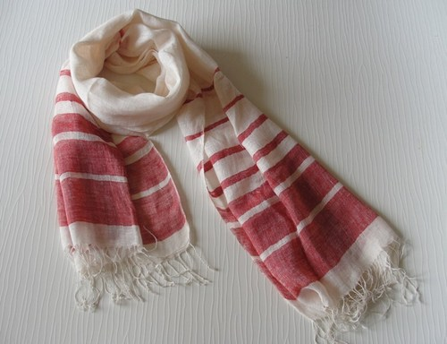 Handwoven Linen Stripes Scarf in  12-Sector