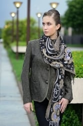 Coat And Woven Scarves
