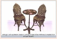 Antique Cast Aluminium Chair And Cast Iron Table Stand