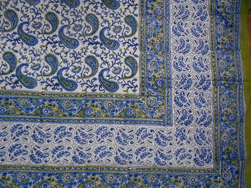 Hand Block Printed Blue Bed Sheet