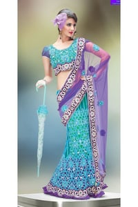 Purple and Turquoise Net Lehenga Style Saree with Blouse