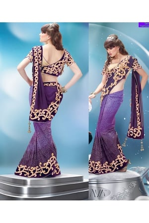 Shaded Purple Faux Chiffon and Net Jacquard Saree with Blouse