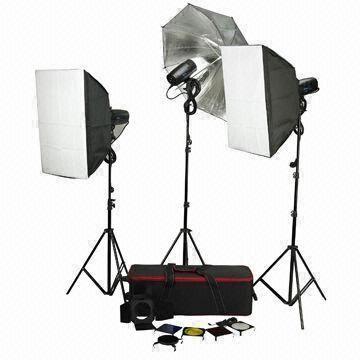 Studio Flash+Light stand+Softbox+Trolley 150W