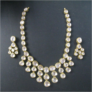 set uncut weddings necklace diamond indian