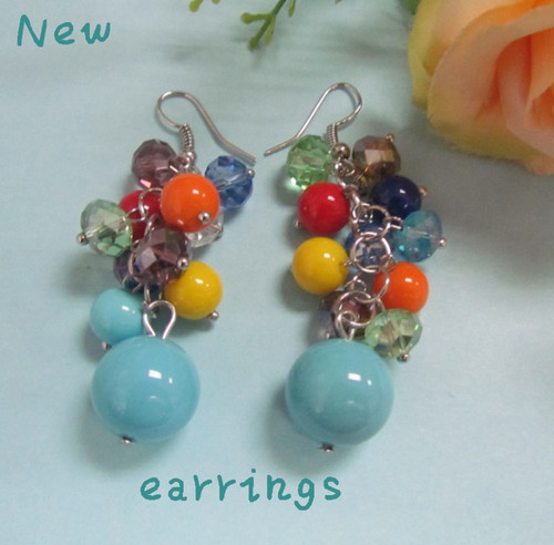 Colorful Beaded Crystal Jewelry Earrings