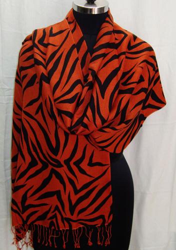 Zebra Prints Silk Pashmina Shawls