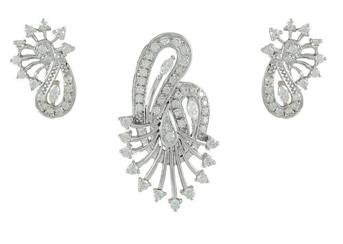 Designer White Gold Pendant Set