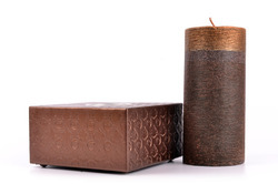 Metallic Copper Square Leather Candle Stand