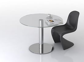 Steel Glass Table With Chair