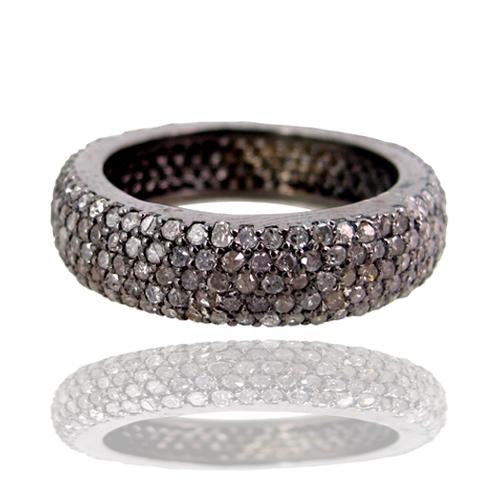 Pave Diamond Silver Ring