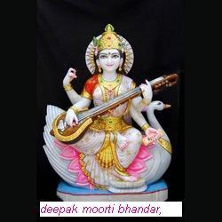 Saraswati White Gold Marble Statue