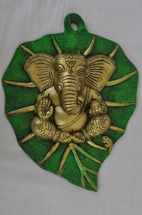 Metal Leaf Lord Ganesha Wall Decor