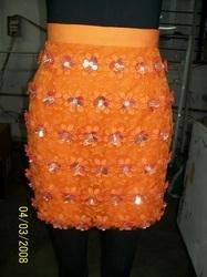 Designer Skirt With 3-Flower Embellishment