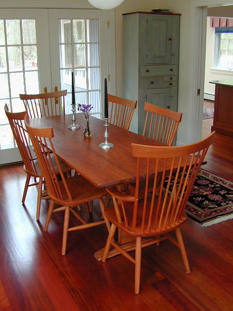 Natural Cherry Chairs With Cherry Trestle Table