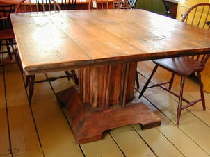 Square Antique Pine Table With Pedestal Base