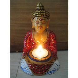 Hand Painted Sitting Budha Tea Light Holder