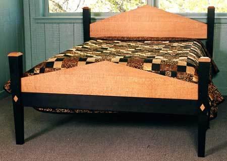 Lace Wood And Ebonized Walnut Bed