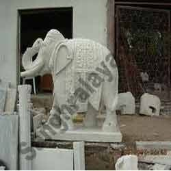 Beautifully Carved Stone Elephant Statue