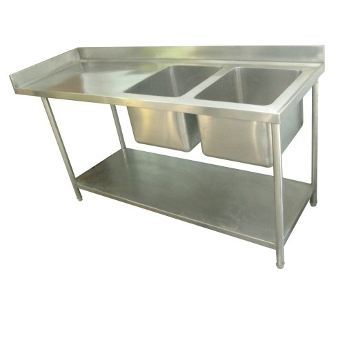 Two Sink Unit With Working Table And Under Shelf