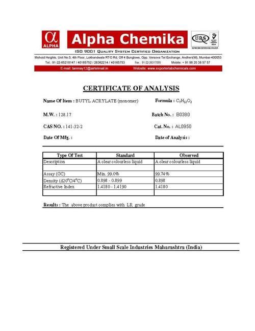 Butyl Acrylate (Monomer)